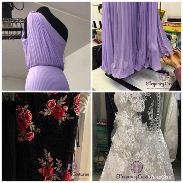 Barra de vestido plissado e ajustes em alta costura