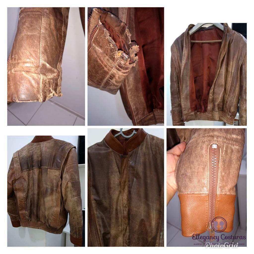 Reforma em jaqueta de couro mangas e gola