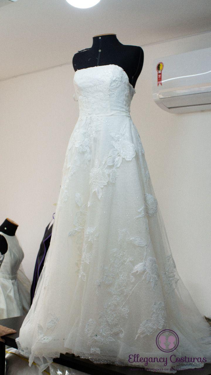 Abrir fenda em vestido de noiva