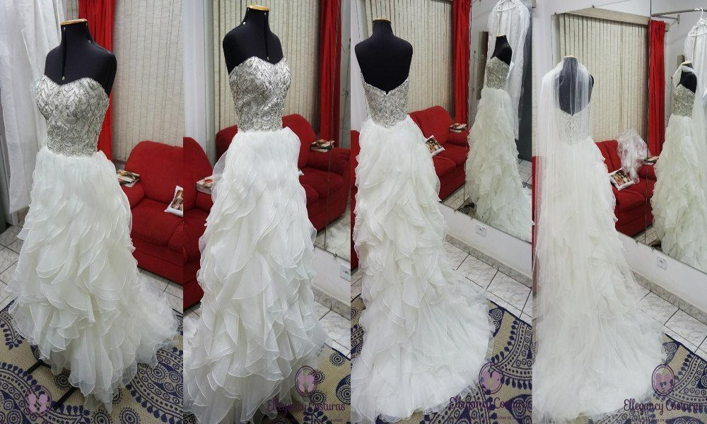 Ganhei um vestido de noiva e preciso fazer ajustes