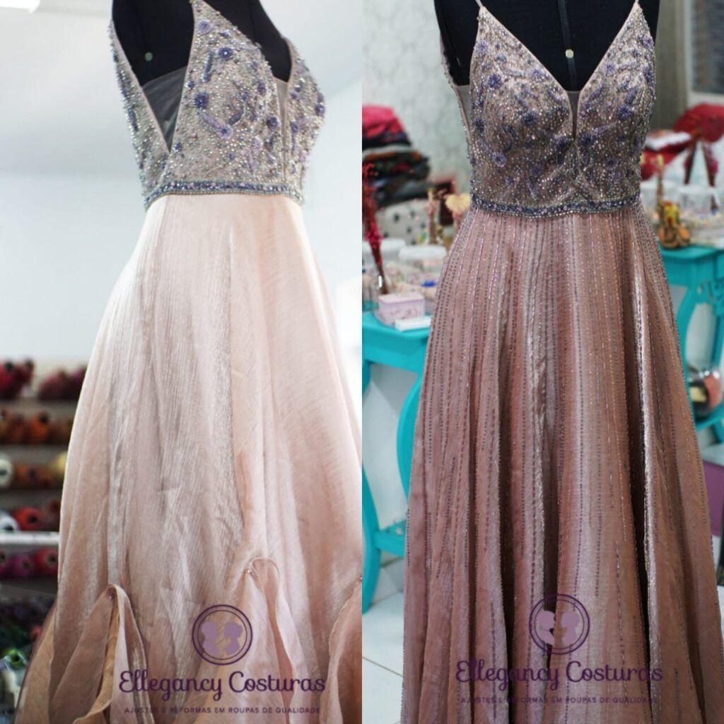 customização em vestido de festa