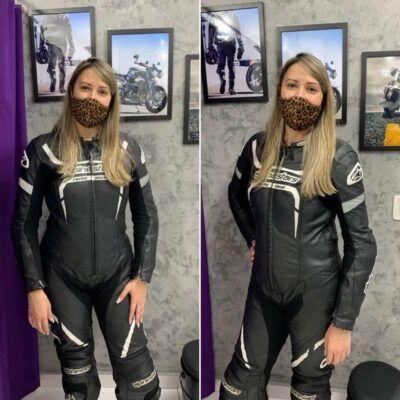 Macacão de motociclista para mulheres que pilotam
