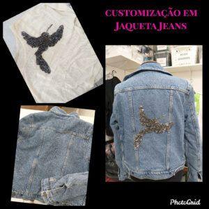 Customização em jaqueta jeans