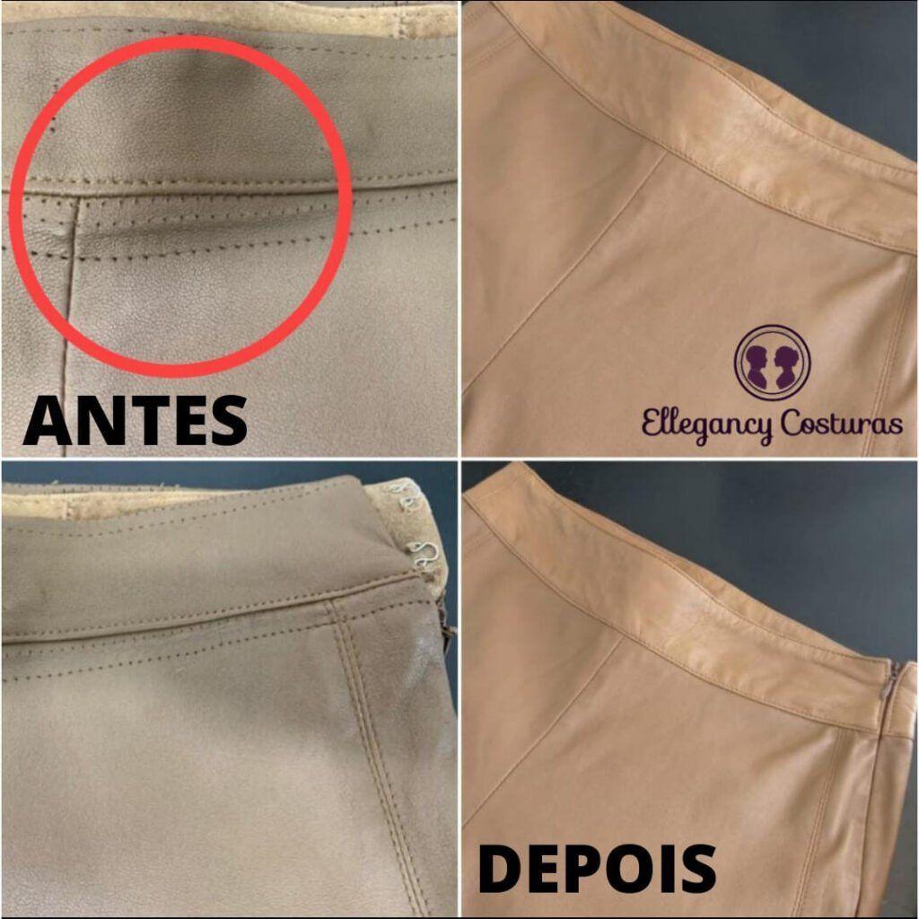 Fechar rasgo em calça de couro