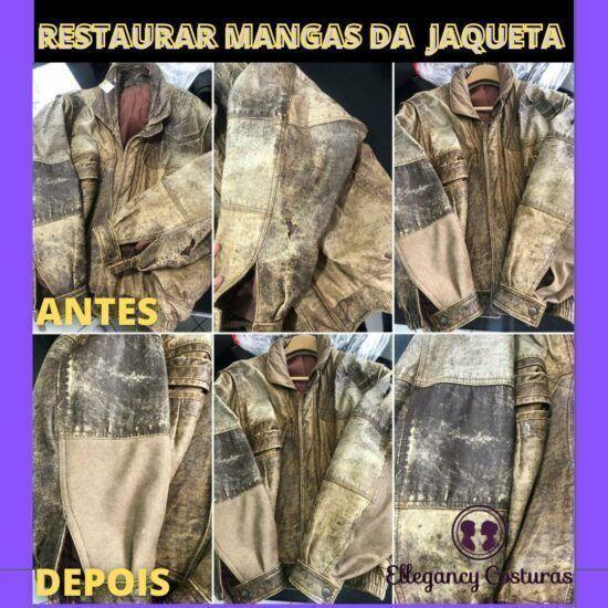 Oficina do couro para restaurar mangas da Jaqueta