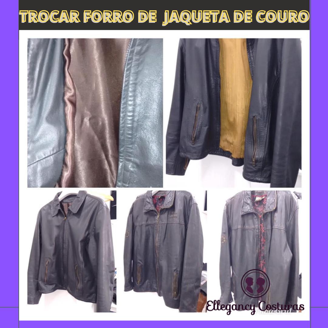 Costureira que recicla roupas de couro