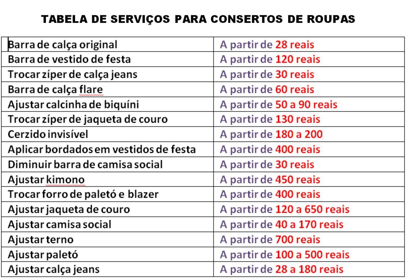 tabela de servicos para conserto de roupas precos