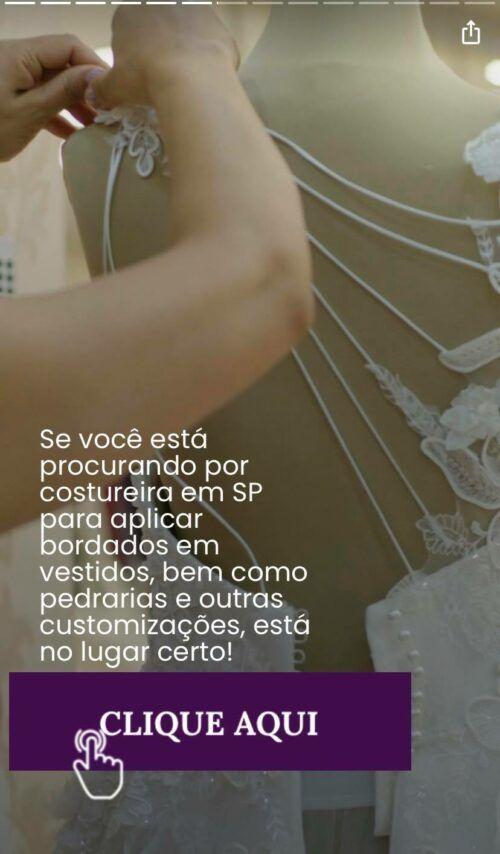 atelier de costuras que borda vestido de noiva